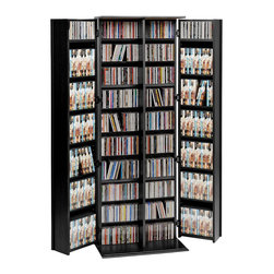 Prepac - Prepac Black Large Deluxe Storage with Locking Shaker Doors - Keep your multimedia collection neatly behind closed doors with the Grande locking media storage cabinet with shaker doors. With traditional style and practical function, this cabinet will complement any room as well as add valuable storage space. The shelves are fully adjustable, making it easy for you to customize. Adjust the shelves according to your needs, and keep out curious kids with the locking doors. Thanks to offset hinge points, both doors allow 180 degree movement, making it more convenient than ever to reach in and grab a movie.