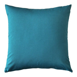 Pillow Decor - Pillow Decor - Sunbrella Peacock Outdoor Pillow 20 x 20 - A beautiful teal green, the Sunbrella Spectrum Peacock Pillow is made from sturdy weather resistant fabric from Sunbrella -THE name in outdoor fabrics. A perfect coordinate with Sunbrella's Stanton Lagoon and Astoria Lagoon fabrics. These outdoor pillows are practical and beautiful!