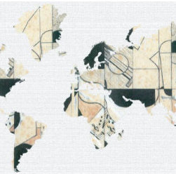 """Studio Map Mural - Gris Guitar - Peel & Stick - 3 Panels - 107"""" x 52"""" - From our studio collection, decorative map themed prints in huge wall mural sizes. Instant color or texture to any room!   The peel and stick material goes up in seconds, is repositionable, and will not damage walls when removed. The finely woven fabric material will not wrinkle or bubble, and will stay put for years. This is an ideal material for dorm rooms and apartments where permanent modifications to walls are forbidden. Instantly add color and visual texture to your room with one of these easy to hang, map themed wall coverings. (Note that due to the flexibility and nature of the thin fabric material, uneven wall surfaces may show texture through the material. For best results apply to a smooth surface.)  The multi panel murals come with several panels in manageable sizes, suitable for an eager do-it-yourselfer, or as a simple tea-time project for 2 people.  Studio Map Murals are made to order & are not returnable once opened.  Please allow two weeks for delivery.  Express shipping not available."""