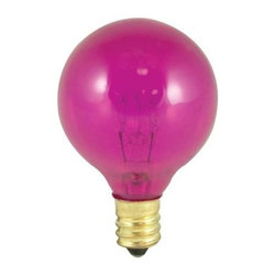 Bulbrite - Globe Light Bulbs in Transparent Pink - 25 Bu - One pack of 25 Bulbs. 130V candelabra E12 base incandescent G12 bulb type. Dimmable. Color temperature: 2700K. Average hours: 2500. Equivalency: 10 watts. Color rendering index: 100. 360 degrees beam spread. 1.5 in. Dia. x 2.38 in. H