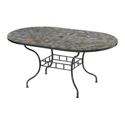"Home Styles - Home Styles Stone Harbor 65"" Dining Table - Home Styles - Patio Dining Tables - 560133 - The Stone Harbor Oval Dining Table top is constructed of small square hand applied slate tiles with no two tops being exactly the same in a naturally occurring gray variation. The table top also features a center opening that can be used for an umbrella or can be closed with the included black cap for a continuous surface. The base is constructed of powder coated steel in a Black finish.  Adjustable nylon glides prevent damage to surfaces caused by movement and provide stability on uneven surfaces. Size:  65w 39.5d 29.5h"