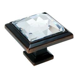 Cosmas - Cosmas 5883ORB-C Oil Rubbed Bronze & Clear Glass Square Cabinet Knob, 50-Pack - Manufacturer: Cosmas