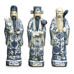 """China Furniture and Arts - Blue and White Porcelain Lucky Gods, Set of 3 - Fu (good luck), Lu (high rank and fortune), and Shou (longevity) are considered the three essential elements for a happy life in Chinese Culture. Representing a family-oriented culture, the god Fu is depicted with a child in his arm. Wearing a hat of a high official in the emperor's court, the god Lu represents good fortune. As a society based on Confucius's scholar-statesman philosophy, the way to acquire good fortune was first to receive a good education and then to become a high rank official. He is always in the center of these three. The long-bearded old sage is the God of longevity. He is always seen with a peach in his hand which is a symbol of longevity in Chinese mythology. Made of porcelain, the three gods are seen in most Chinese households and bring positive Feng-Shui. Each one is approximately 3.25""""W x 3""""D x 12.5""""H."""