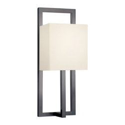 """Sonneman - Sonneman Linea Tall Wall Sconce - The Linea Tall Wall Sconce by Sonneman has been designed by Robert Sonneman. Linea Tall Sconce is a strong modern composition featuring a rectangular form precisely divided by the centered single arm. The sleek arm rises to support a lamp within a luminous cube-like shade. Compelling in its simple logic and design equation Linea communicates sleek and intelligent styling. Offered in black bronze with an off-white linen shade.  Product description:  The Linea Tall Wall Sconce by Sonneman has been designed by Robert Sonneman. Linea Tall Sconce is a strong modern composition featuring a rectangular form precisely divided by the centered single arm. The sleek arm rises to support a lamp within a luminous cube-like shade. Compelling in its simple logic and design equation Linea communicates sleek and intelligent styling. Offered in black bronze with an off-white linen shade.  Details:          Manufacturer:     Sonneman         Designer:    Robert Sonneman        Made in:    USA        Dimensions:     Shade:Width:5"""" (12.7 cm) X Height:5.5"""" (17.78 cm) X Depth:3.5"""" (8.89 cm)            Wall Plate:Width:4.25"""" (10.8 cm) X Height:5 (12.7 cm)       Overall:Width:5"""" (12.7 cm) X Height:13"""" (33.02 cm)        Light bulb:     1 X E12 Candelabra Max 60W Incandescent (not included)        Material:     Linen"""