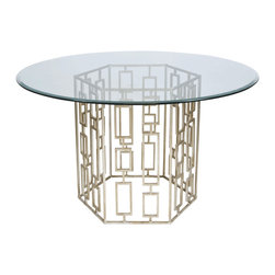 "Worlds Away - Worlds Away Champagned Silver Leaf Dining Table with 48""Dia Glass Top JACKSON S4 - Champagned silver leaf dining table base with 48"" diameter round beveled glass. Glass is 3/8"" thick."