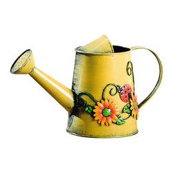 "Pier Surplus - Decorative Sunflower & Ladybug Metal Watering Can #GD229779 - Decorated with lively scene of sunflowers and ladybugs, this shiny yellow painted metal watering can should make a nice, cheery addition to anyone's decor. 11""L x 5""W x 6.75""H"