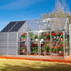 Grow & Store Greenhouse and Storage Shed - The new Grow & Store combines two essential components for any home gardener—a greenhouse for your plants and a storage shed for all of your gardening gear! This space-saving design is great for smaller yards or limited gardening space. The 6' x 8' greenhouse features clear- as- glass, virtually unbreakable, SnapGlas™ polycarbonate side and roof panels. The colored polycarbonate panels of the 6' x 4' storage shed keep the sun out and your tools neatly hidden away. Two structures – one great price!