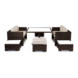 Reef Rattan - Reef Rattan Camina 7 Pc Cube Love Seat Dining Set - Chocolate Rattan / Beige Cus - Reef Rattan Camina 7 Pc Cube Love Seat Dining Set - Chocolate Rattan / Beige Cushions. This patio set is made from all-weather resin wicker and produced to fulfill your needs for high quality. The resin wicker in this patio set won't fade, shrink, lose its strength, or snap. UV resistant and water resistant, this patio set is durable and easy to maintain. A rust-free powder-coated aluminum frame provides strength to withstand years of use. Sunbrella fabrics on patio furniture lends you the sophistication of a five star hotel, right in your outdoor living space, featuring industry leading Sunbrella fabrics. Designed to reflect that ultra-chic look, and with superior resistance to the elements in a variety of climates, the series stands for comfort, class, and constancy. Recreating the poolside high end feel of an upmarket hotel for outdoor living in a residence or commercial space is easy with this patio furniture. After all, you want a set of patio furniture that's going to look great, and do so for the long-term. The canvas-like fabrics which are designed by Sunbrella utilize the latest synthetic fiber technology are engineered to resist stains and UV fading. This is patio furniture that is made to endure, along with the classic look they represent. When you're creating a comfortable and stylish outdoor room, you're looking for the best quality at a price that makes sense. Resin wicker looks like natural wicker but is made of synthetic polyethylene fiber. Resin wicker is durable & easy to maintain and resistant against the elements. UV Resistant Wicker. Welded aluminum frame is nearly in-destructible and rust free. Stain resistant sunbrella cushions are double-stitched for strength and are fully machine washable. Removable covers made with commercial grade zippers. Tables include tempered glass top. 5 year warranty on this product. PLEASE NOTE: Throw pillows are NOT inc