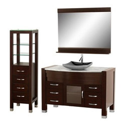 "Modern Bathroom - Daytona 55"" Bathroom Vanity Set - Espresso Finish w/ Drawers & Cabinet - Absolutely exclusive to Modern Bathroom, the Daytona 55"" Bathroom Vanity Set in Espresso is unique in contemporary bathroom vanities and will make a strong statement in your bathroom. This beautiful bathroom vanity comes complete with mirror and cabinet. Its solid marble counter shows off the glamour and modern design of this vanity, and will transform your bathroom into a contemporary masterpiece. This is a Modern Bathroom original design, and is therefore only available in very limited numbers. Incredibly, this price is for the complete set - Vanity, mirror, and cabinet included, and FREE SHIPPING! All counters are pre-drilled for a single-hole faucet, but are also available for a 3-hole faucet by request, at no additional charge. Available in additional sizes, finishes and counter options. Features Constructed of solid, environmentally friendly, zero emissions wood, engineered to prevent warping and last a lifetime Includes single-hole faucet mount Includes drain assembly and P-Trap Includes mirror and side cabinet (WC-K-W045-ESP) Please note that backsplashes MUST be ordered at the same time as the vanity and counter. They cannot be shipped as separate items.--> How to handle your counterSpec Sheet for vanity and mirrorSpec Sheet for WC-K-W045 Spec Sheet for V202 Spec Sheet for V203 Spec Sheet for V205 Spec Sheet for WC-V207 Installation Guide for WC-V207 Spec Sheet Dimensions   Width Depth Shelf Depth Height Height to counter Sinks Height Vanity 54-3/4 22     33.5 5"" Mirror 48   5 33-3/4     Natural stone like marble and granite, while otherwise durable, are vulnerable to staining from hair dye, ink, tea, coffee, oily materials such as hand cream or milk, and can be etched by acidic substances such as alcohol and soft drinks. Please protect your countertop and/or sink by avoiding contact with these substances. For more information, please review our ""Marble & Granite Care"" guide."