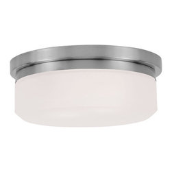 """Livex Lighting - Livex Lighting 7391 11 Inch Wide Flush Mount Ceiling Fixture / Wall Sconce with - Livex Lighting 7391 Two Light Flush Mount Ceiling FixtureA modern take on warehouse style lighting, the Westfield 11"""" diameter two light flush mount ceiling fixture features a round hand blown glass shade and a simple metal base. Install on the ceiling or wall and add an industrial chic feel to your home today!Livex Lighting 7391 Features:"""