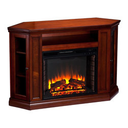 """Holly & Martin - Holly&Martin Convertible Media Electric Fireplace-Mahogany X-52-6-480-791-73 - For the entertainment enthusiasts, this mahogany glazed fireplace accommodates wonderfully. Triangular media storage shelves enclosed by glass doors on either side of the firebox provide plenty of space for your favorite media selections. An additional media equipment shelf above the firebox is complete with convenient back wall cord access. This fireplace mantel is also designed with a collapsible panel, allowing for versatile placement against a flat wall or corner in your home. The firebox has realistic, multicolor flickering flames and glowing embers with an interior brick design for a more lifelike look. Try moving this fireplace to your dining room for a romantic dinner or complement your media room with a ventless fireplace below your flat screen television. This electric fireplace features energy efficient LED and requires no professional installation, making it a cost effective way to upgrade your living or media room. Easy to use remote control offers 4-way adjustability to warm the room conveniently. Safety features include automatic shutoff and glass that remains cool to the touch. Turn off the heat to enjoy the fireplace ambience year round! - FEATURES: - Accommodates a flat panel TV up to 46"""" W overall - Features 1 media shelf, 2 triangular side cabinets, and 4 adjustable side shelves - Offers 1 cord management opening - Brown mahogany finish - PRODUCT SPECIFICATIONS: - Collapsible corner panel: 8.5"""" W x 16.25"""" D x 32.25"""" H - Media shelf: 23"""" W x 13"""" D x 5"""" H - Triangular cabinets: 8.5"""" W x 9"""" D x 27"""" H - Triangular shelves: 8.5"""" W x 9"""" D x 7.75""""/8.75""""/9"""" H (top/center/bottom, adjust 2"""" up/down) - Approx. weight: 123 lb. - Supports up to: 85 lb. (mantel), 20 lb. (media shelf), 10 lb. (per shelf) - Materials: poplar, MDF, particle board, basswood veneer, 4mm tempered glass, metal, resin, glass - Assembly required - Overall: 48"""" W x 15.75"""" D x 32.25"""" H (flat),"""