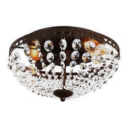 North Antique Iron and Crystal Recessed Lighting -