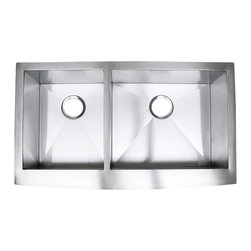 """Ariel - 36 Inch Stainless Steel Curved Front Farm Apron 40/60 Double Bowl Kitchen Sink - The sleek contemporary design of the Ariel 36 Inch Curved Front Farm Apron will add a professional look to your kitchen. Exterior Dimensions 36"""" x 22-5/16"""". Left Bowl Interior 12-7/8"""" x 17-15/16"""". Right Bowl Interior 19-7/8"""" x 17-15/16"""". Depth 10-1/2""""."""