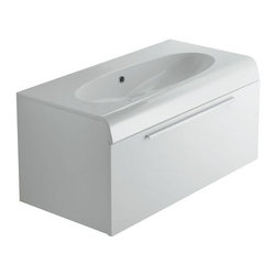 Ceramica Globo - Ceramica Globo | Bowl+ One Drawer Vanity - Made in Italy by Ceramica Globo.A part of the Bowl+ Collection. The Bowl+ One Drawer Vanity is a minimalist vanity that provides convenient storage space for your bathroom essentials. With a single deep drawer, there is ample room for your bathroom necessities right where you need it. The ceramic oval basin and countertop lets you rinse with leisure, and offers countertop space for cosmetics and toiletries. Select from a wide variety of wooden finishes to suit your bathroom. Product Features: