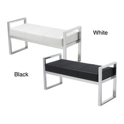 Sunpan - Sunpan Darby Bench - This sleek upholstered bench features a modern base with a sleek chrome finish that will give your home plenty of modern charm. Choose from soft faux leather in black or white,both great options for working with a variety of room decors.