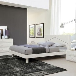 Made in Italy Wood High End Bedroom Furniture feat. Light - Modern white Italian bedroom set with headboard lights. This Italian bedroom set includes a queen size bed, 2 night stands and a dresser.