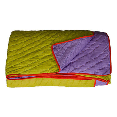 KOKO - Queen Coverlet, Reversible, Lime/Purple - Even if you're typically a white bed set kind of sleeper, this unique color combination just might have you intrigued. Go the easy route and use it for a kid's room, or get brazen and fold one up at the foot of a grown-up bed.
