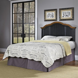 HomeStyles - Oak and Rubbed Black Full/Queen Headboard (Qu - Choose Size: QueenThe queen headboard is constructed of hardwood solids, engineered wood and oak veneers in a distressed oak and heavily rubbed black finish. The distressed oak features several distressing techniques such as worm holes, fly specking, and small indentations. Features include detailed panels, crown moldings, and shaped carved proud legs. Assembly required. 66 in. W x 3.25 in. D x 58 in. H