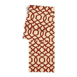 Red Velvet Flocked Trellis Custom Table Runner - Get ready to dine in style with your new Simple Table Runner. With clean rolled edges and hundreds of fabrics to choose from, it's the perfect centerpiece to the well set table. We love it in this red velvet flocked trellis in on dark cream cotton that adds subtle texture and warmth to your room.