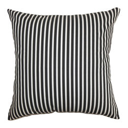 "The Pillow Collection - Elvy Stripes Pillow Black White 18"" x 18"" - This stripes pillow is an ideal highlight piece for your sofa, bed or seat. Made of 100% cotton, this plush square pillow lends comfort and dimension to your living space. The classic stripes pattern featured in this 18"" pillow comes in shades of black and white. For a unique decor style, incorporate other patterns like plaid, geometric and solids. Hidden zipper closure for easy cover removal.  Knife edge finish on all four sides.  Reversible pillow with the same fabric on the back side.  Spot cleaning suggested."