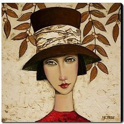 Modern Oil Paintings - Girl in the Hat Oil Painting Free Shipping