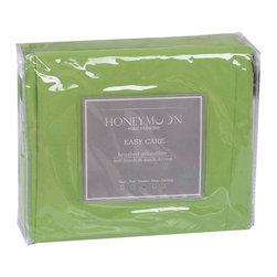 Honeymoon - Honeymoon super soft 4PC Bed Sheet Set, Easy Care, Lime Green, Full - Microfiber polyester