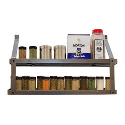 Rogar - Rogar Gourmet Two Tier Spice Rack - 7401 - Shop for Spice Racks from Hayneedle.com! Don't just use the spices you're familiar with - branch out and discover what you can do with cardamom thyme and the ever-mysterious saffron when you add the Rogar Gourmet Two Tier Spice Rack to your kitchen. This sleek and versatile design is crafted from robust metal that's offered in your choice of powder-coated finishes with a hammered steel texture. These shelves are versatile and easy to install. About Rogar InternationalThis product is made by Rogar International. Since 1975 Rogar has designd manufactured and marketed top quality products. By focusing on fine craftsmanship unique products and innovative packaging Rogar has become a leader in the sales of antique-style wine openers hanging and wall-mounted pot racks and other fine products. The company was founded in Abilene Texas and today manufactures its high quality products in Richmond Virginia.