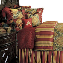 AICO Furniture - Nobel Philippe Queen 12-piece Comforter Set - Multi-Pattern Eclectic Motif. Deep Red/Tan/Black Color Scheme. 1 Comforter, 2 Euro Shams, 2 Standard Pillow Shams, 1 Bedskirt (3 Pieces), 6 Decorative Accent Pillows