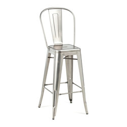 High Back Bar Stool, Gunmetal - This is the classic metal café stool. It's always chic, and will never go out of style.