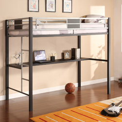 DHP - DHP Silver Screen Metal Twin-size Loft Bed - The Silver Screen Loft Bed brings a cool,chic look with practical use to any bedroom. The Twin Loft Bed with built-in desk is perfect for small spaces and gives ample room for studying.