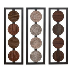 Assorted Contemporary Wood Panels - Set of 3 - 12W x 35H in. ea. - About AspireSpecializing in quality lamps, wall art, clocks, mirrors and accent vases, Aspire offers a wide selection of products for every taste. You'll appreciate the designer look - without the designer prices. Aspire is a family-owned and operated business that has served the home decor industry for over 30 years. Thanks to beautiful design with quality in mind, the company continues to flourish.