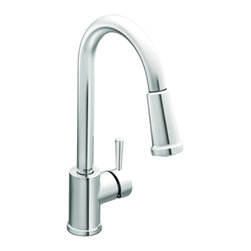 Moen - Moen 7175 Level Series Single-Handle High-Arc Pull-Down Kitchen Faucet (Chrome) - The Level series features a modern, sleek design and refined style that transcends seemlessly to the modern home. The Level collection stands apart with it's clean, geometric lines.