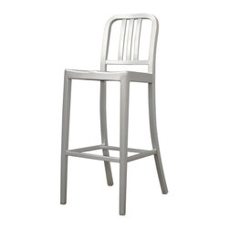 Wholesale Interiors - Modern Cafe Bar Stool in Brushed Aluminum - There is no reason to restrict contemporary furniture to the indoors - enjoy it al fresco on your deck, patio, or restaurant with the Cafe Chair. The simple design lends itself well to just about any type of setting. Plastic non-marking feet finish off the legs and provide additional stabilization.