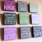 "Inspirational Christian Art ""Teach Me"" Wood Blocks By grace for grace - These are cute and inspirational; hopefully some of it would sink in!"
