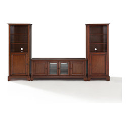 "Crosley - Newport 60"" Low Profile TV Stand and Two 60"" Audio Piers - Dimensions:  Audio Tower: 57"" H x 18"" W x 24"" D"