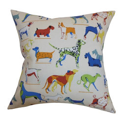 "The Pillow Collection - Wonan Dogs Print Pillow Multi 20"" x 20"" - Show your love for your dogs by donning this accent pillow. This square pillow features a dog pattern in various breeds. The multicolored print makes this 20"" pillow a fun decor piece to add in your living room, bedroom or guestroom. Pair this fun throw pillow with other animal patterns from our pillow collection. This contemporary pillow is American-made and uses 100% soft cotton material. Hidden zipper closure for easy cover removal.  Knife edge finish on all four sides.  Reversible pillow with the same fabric on the back side.  Spot cleaning suggested."