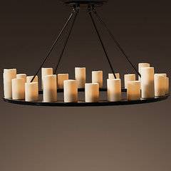 eclectic chandeliers Restoration Hardware Pillar Candle Round Chandelier (Large)