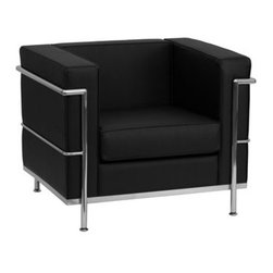 Flash Furniture - Flash Furniture Regal Black Club Chair - This attractive black leather reception chair will complete your upscale reception area. The design of this chair allows it to adapt in a multitude of environments with its smooth upholstered cushions and visible accent stainless steel frame. [ZB-REGAL-810-1-CHAIR-BK-GG] Operating out of Etowah GA (with a warehouse in Reno NV) Flash Furniture specializes in bold upbeat décor for home office or commercial spaces. With a wide array of colors and fashions to fit your budget Flash Furniture accommodates your every need. Features include Regal Series Chair Office or Home Office Seating Made of Eco-Friendly Materials Taut Seat and Back Removable Seat and Back Cushion Foam Filled Cushions Straight Arm Design Accent Bar Frames Chair Integrated Stainless Steel Legs Black LeatherSoft Upholstery LeatherSoft is leather and polyurethane for added Softness and Durability CA117 Fire Retardant Foam. Specifications Seat Size: 22W x 21.25D Back Size: 22W x 11.5H Arm Height From Floor: 27.5H Arm Height From Seat: 11.5H Seat Height: 17H Finish: Stainless Steel Color: Black Upholstery: Black Bonded Leather.
