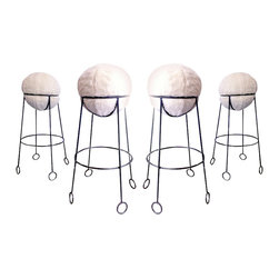 Jean Royere Model 'Yoyo' Bar Stools - Are these not too much? Believe it or not, they were designed by Jean Royere, the talented French designer from the last century. If you are a fan of his iconic designs, these Yoyo bar stools are quite rare and definitely collectors' items. Bonus: The seat is made out of a faux fur, so they are super soft.