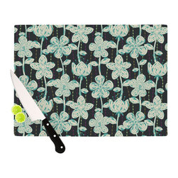 """Kess InHouse - Julia Grifol """"My Grey Spotted Flowers"""" Cutting Board (11.5"""" x 15.75"""") - These sturdy tempered glass cutting boards will make everything you chop look like a Dutch painting. Perfect the art of cooking with your KESS InHouse unique art cutting board. Go for patterns or painted, either way this non-skid, dishwasher safe cutting board is perfect for preparing any artistic dinner or serving. Cut, chop, serve or frame, all of these unique cutting boards are gorgeous."""