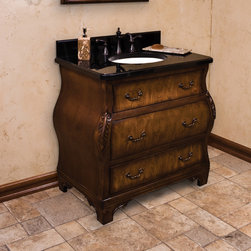 "34"" Walnut Bombe Vanity - Accent a sophisticated decor with the 34"" Walnut Bombe Vanity. The rich Walnut finish showcases the depth and dimension in the wood, and the classic design works well in a variety of bath or powder rooms."