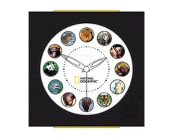 Koolatron - National Geographic Animal Clock - Features animal sounds from around the world. Offers a different animal noise for each hour. Comes with an educational booklet with detailed information about each of the featured animals. Showcased at the 2005 International Home & House Wares Show. 12.50 in. W x 1.50 in. D x 14 in. H (1 lbs)Featuring 12 of the most loved animal sounds from the archives of National Geographic Animal Wall Clock With high quality audio output, photo sensor activated override and the distinct styling of one of the most widely recognized and highly esteemed brands.
