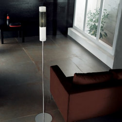 """Dune floor lamp Pl 1028/180 - The Dune floor lamp has been designed by Arcadia for Light for Sillux. Comes with an engraved blown glass lampshade that is available in three colors. The details are in chrome.   Product description:  The Dune floor lamp has been designed by Arcadia for Light for Sillux. Comes with an engraved blown glass lampshade that is available in three colors. The details are in chrome.  Details:                         Manufacturer:             Sillux                            Design:                         Arcadia for light                                         Made in:            Italy                            Dimensions:                         Height: 70 7/8"""" (180 cm) X Length: 12 1/2"""" (32 cm)                                          Light bulb:             1 x 100W Incandescent                            Material             chrome, glass"""