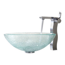 Kraus - Kraus Crackle Glass Vessel Sink and Sonus Faucet - Add a touch of elegance to your bathroom with a glass sink combo from Kraus.