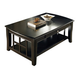 Steve Silver Furniture - Steve Silver Cassidy Cocktail Table - Cassidy cocktail table belongs to Cassidy collection by Steve Silver create a dynamic look with this flat black Cassidy table collection. This beautiful cocktail table features square solid legs that curve outward at the bottom and a solid bottom shelf with wooden bars in a decorative design. The skirt has a drawer in the front with a knob and a rolled rim. The top is solid with a beveled edge.