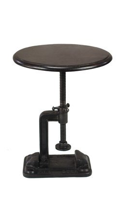 "Hartford | Industrial Style Table Stool - ""Sit down"" and ""Sit up"" take on a whole new meaning with this adjustable-height stool. Everyone already feels comfortable at your table and now with this inventive piece, a guest can raise or lower the seat just so, before raising and lowering their glass."