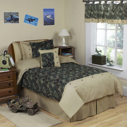 Sweet Jojo Designs - Sweet Jojo Designs Boys 4-piece Army Green Camouflage Twin Comforter Set - Made from 100-percent cotton,this awesome bedding uses solid camel,traditional brown and green army camouflage print,and metal buttons to create a great look.