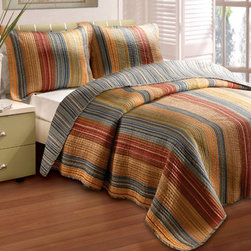 None - Katy 5-piece Quilt Set - Complete the look of your bedroom with this elegant king-sized quilt set by Katy. It is made entirely of 100-percent cotton for added comfort,and the multi-colored designer stripes will add style and sophistication to your room decor.