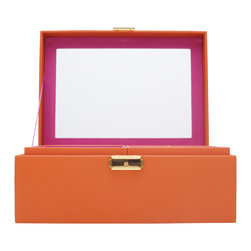 WOLF - Brighton Jewelry Box Medium, Orange - Add a pop of color with the Brighton collection. Each case features a rich, saffiano leather exterior in orange, cream, or black and a contrasting plush interior.  The medium jewelry box contains a vanity mirror behind the lid and two pull out trays with open compartments and a ring roll.