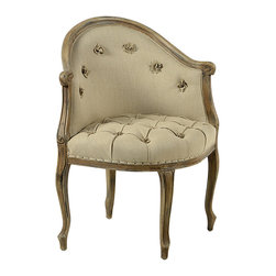Dixon Corner Chair, Beige - With graciously curving legs, the Dixon corner chair brings style and traditional charm to the home. This well-upholstered chair features tufting on its seat, accented with flower-like fabric poufs that also arc across the back of the chair. Curved legs with carved details are situated in a diamond pattern, allowing this chair to nestle perfectly into a corner. This stylish occasional chair is a lovely accent.